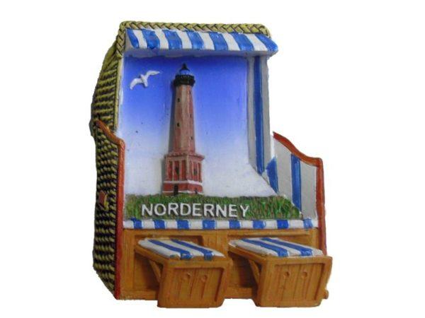 """Magnet Strandkorb """"Norderney"""" mit Leuchtturm und Möwe"""